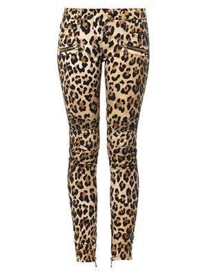 Leopard-print mid-rise skinny biker jeans