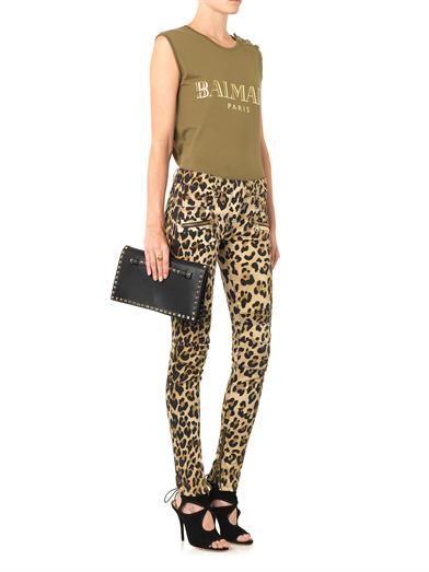 Balmain Leopard-print mid-rise skinny biker jeans