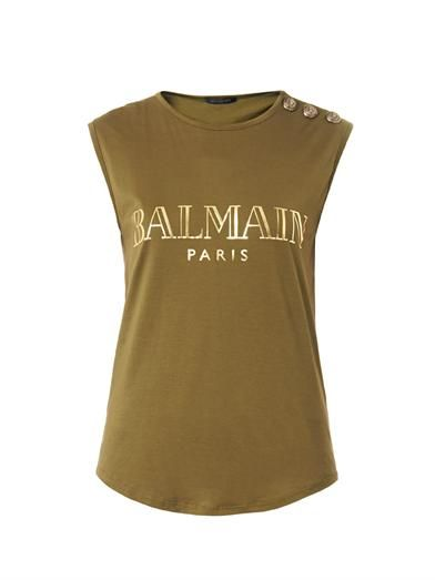 Balmain Logo-print sleeveless top