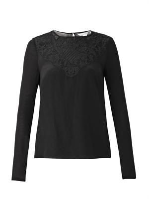 Lace-trimmed silk and jersey blouse
