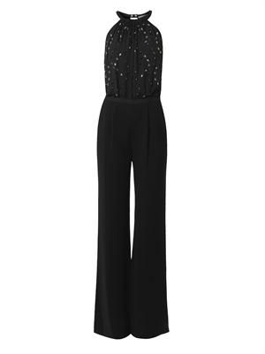 Crystal-embellished crepe jumpsuit
