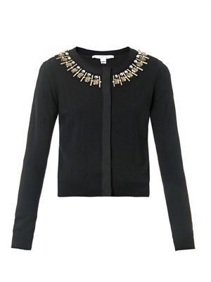 Embellished-neckline wool-blend cardigan