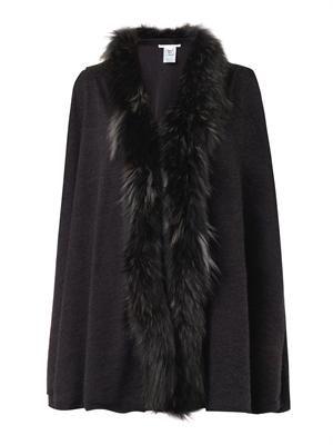 Fur-trimmed wool cardigan
