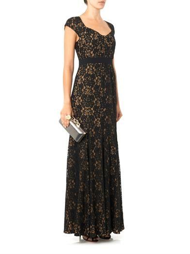 Diane Von Furstenberg Sweetheart-neckline lace gown