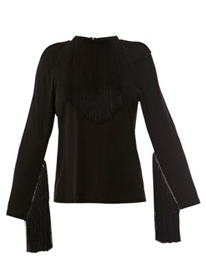 Long sleeved fringe top