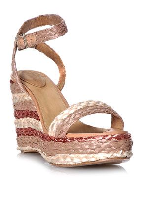 Stripe raffia wedge shoes