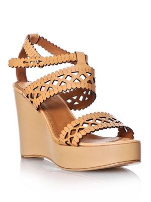 Laser-cut leather wedge shoes