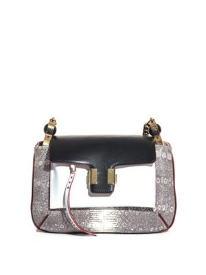 Amelia lizard and leather chain-handle bag