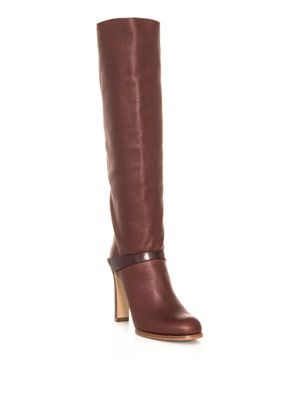 Leather knee-high ankle-strap boot