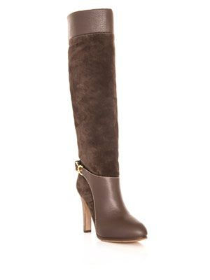 Leather and suede knee-high boots