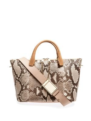 Baylee bi-colour python and leather tote