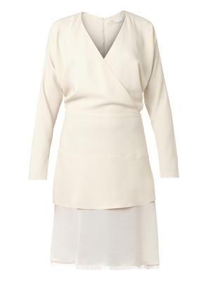 V-neck silk-skirt crepe dress