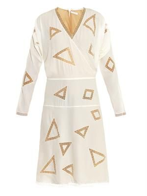Geometric-embroidery silk dress