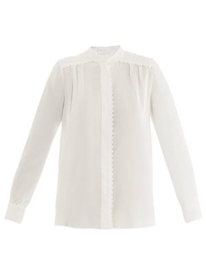 Scalloped edge crepe-de-chine blouse