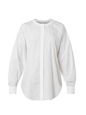 Pinstriped collarless cotton shirt