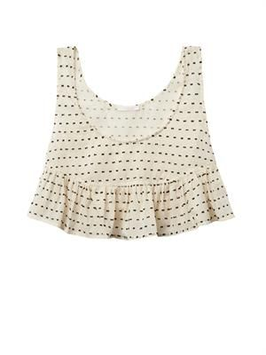 Polka-dot cotton cropped cami