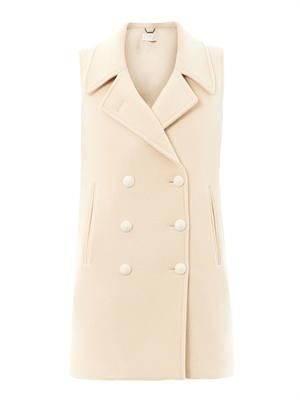 Micro boulette-wool sleeveless coat