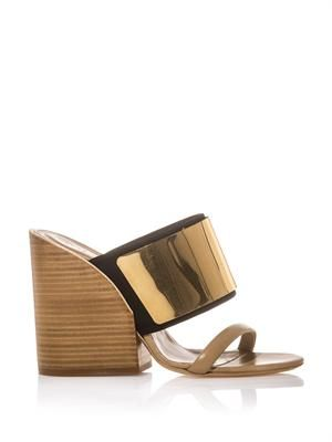 Celeste metal-plaque block-heel mules