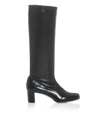 Stretch leather knee-high boots