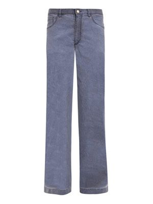 Washed chambray wide-leg jeans