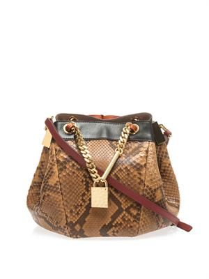 Camille python cross-body bag