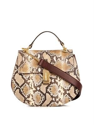 Drew large python shoulder bag