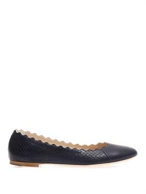 Lauren scalloped-edge snakeskin flats