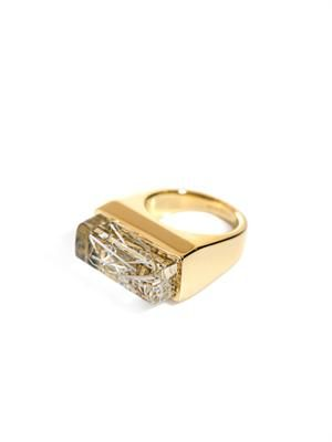Bettina embellished rectangular resin ring