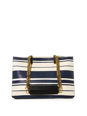 Carey striped leather shoulder bag