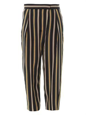 Stripe silk trousers