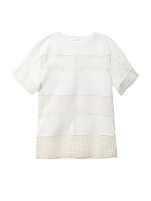 Diamond-lace cotton T-shirt