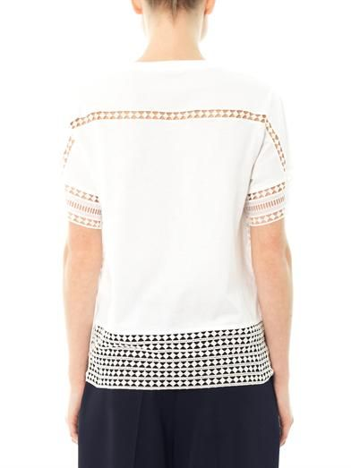 Chloé Diamond-lace cotton T-shirt