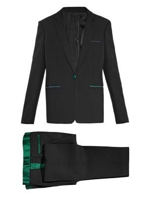 Satin-trimmed wool suit