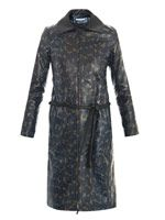 Embossed leather leopard-print coat