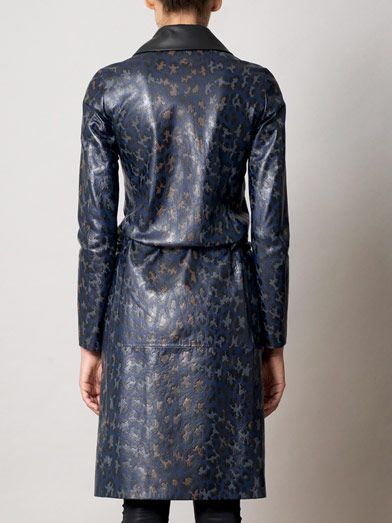 Christopher Kane Embossed leather leopard-print coat