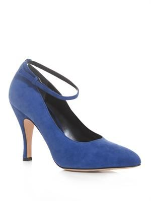 Suede ankle-strap pumps