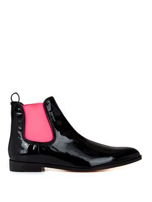 Bi-colour patent leather chelsea boots