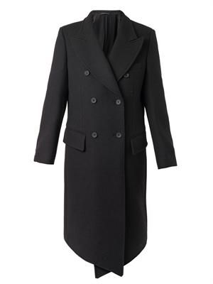 Diagonal cross-front wool coat