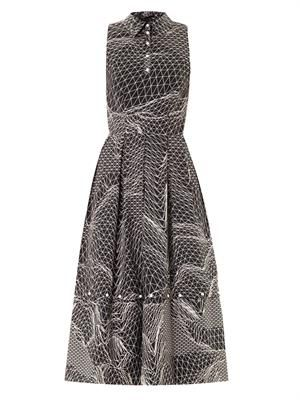 Spiral-print sleeveless dress