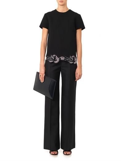 Christopher Kane Lace-hem crepe top
