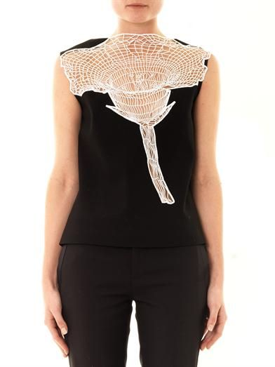 Christopher Kane Lace flower sleeveless blouse