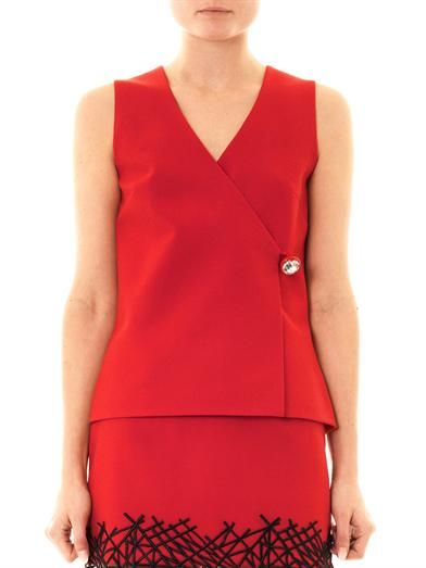Christopher Kane Crystal-button wrap top