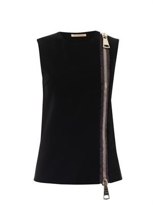 Zip-front sleeveless top
