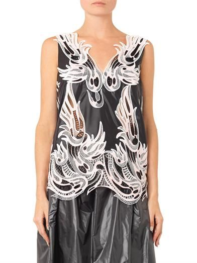Christopher Kane V-neck lace-trimmed nylon top