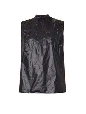 Crystal-emebllished wet-look top