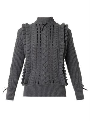 Ribbon-through cashmere sweater
