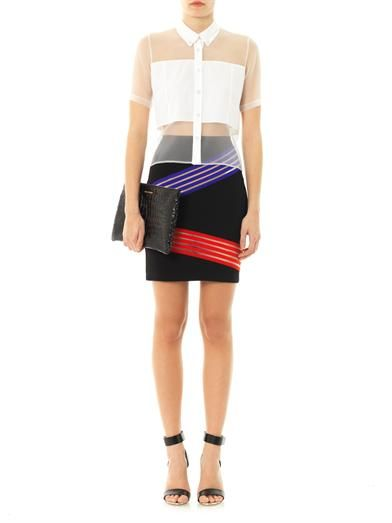 Christopher Kane Crystal-button sheer blouse