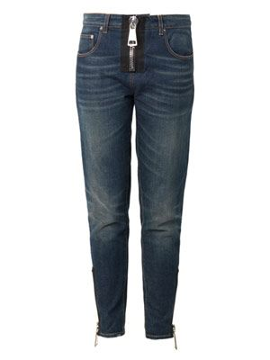 Oversized-zip boyfriend jeans