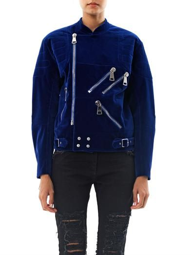 Christopher Kane Velvet exposed zip biker jacket