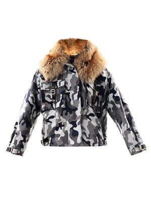 Fur trimmed camo-print jacket